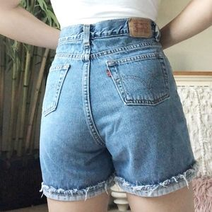 Vintage Levis Distressed Cuffed Denim Shorts
